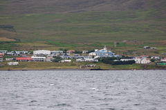 Hvammstangi village seen from the sea, Iceland Stock Image