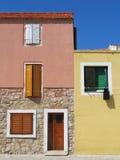 hvar五颜六色的克罗地亚的房子 库存图片