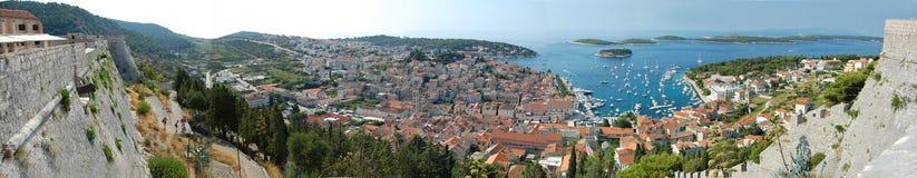 hvar πανόραμα της Κροατίας Στοκ Εικόνες