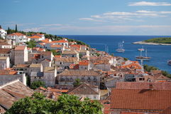 Spectacular view of the Old Town of Hvar, Croatia Stock Images
