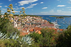 Spectacular view of the Old Town of Hvar, Croatia Stock Photography