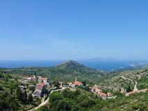 Hvar. View at the village Velo Grablje in the hills of the island Hvar of Croatia Royalty Free Stock Photo