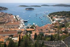 Hvar from above. View of Hvar city center and the marina from above Royalty Free Stock Photo