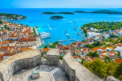Hvar archipelago scenery in Croatia, Europe. Scenic aerial view at amazing archipelago in front of town Hvar, Croatia Mediterranean royalty free stock images