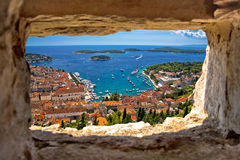 Hvar bay aerial view through stone window Royalty Free Stock Photography