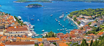 Hvar bay and yacht harbor Royalty Free Stock Photos