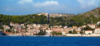 Hvar, Croatia. Seaside view of the city of Hvar on Adriatic coast of Croatia Stock Images