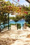 HVAR - Croatia. Garden along the sea in the island of Hvar in Croatia in south Europe Royalty Free Stock Photo