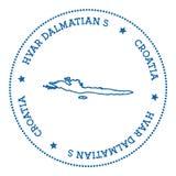 Hvar & Dalmatian Islands map sticker. Stock Images