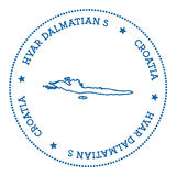 Hvar & Dalmatian Islands map sticker. Stock Photo