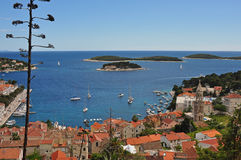 Hvar Harbor, from above town Stock Photography