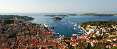 Hvar harbor. Hvar, harbor of old Adriatic island town. panoramic view. Popular touristic destination of Croatia Stock Image