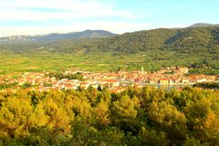 Hvar Island in Croatia, Starigrad town, panoramic view Stock Photos
