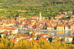 Hvar Island in Croatia, Starigrad town, panoramic view Stock Photo