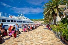 Hvar island harbor tourist queue Royalty Free Stock Photo