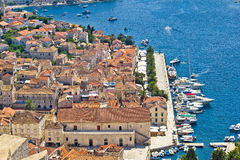 Hvar island yachting harbor aerial view Stock Image