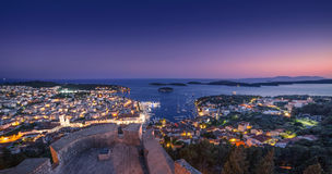 Hvar at night. Beautiful view of the town of Hvar at night. Hvar Island in Croatia Stock Image