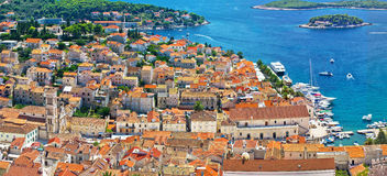Hvar old historic center aerial view Stock Photos