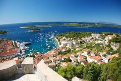 Hvar Panorama der Insel Lizenzfreie Stockfotos