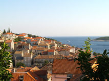 Hvar roofs. Beautiful view on Hvar bay and island Stock Images