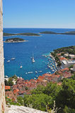Hvar Town and Harbor. Hvar Town, from the citadel above, looking out at the Adriatic Sea Stock Photo