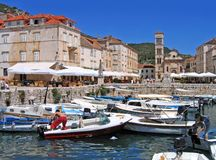 Hvar Town harbor, Croatia. Colorful harbor in Hvar Town, Croatia Stock Images
