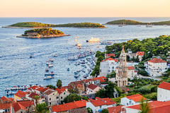 Hvar town harbor Royalty Free Stock Photography