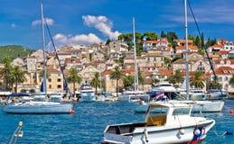 Hvar waterfront sailing harbor in Dalmatia Royalty Free Stock Image