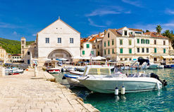 Hvar waterfront and theater view Stock Photography