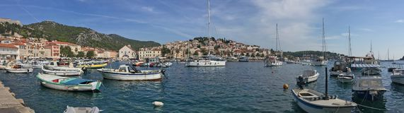The Hvar Yacht Harbor stock photo