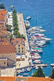 Hvar yachtin harbor aerial view Stock Photos