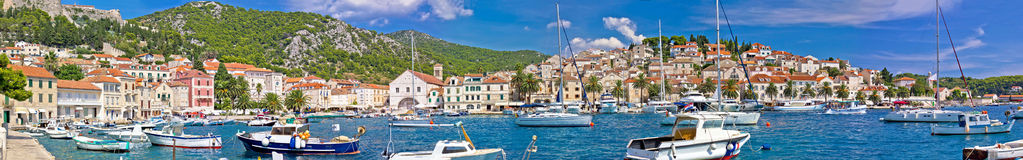 Hvar yachting harbor and historic architecture panoramic Royalty Free Stock Images