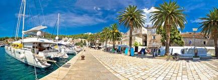 Hvar yachting waterfront panoramic view Stock Photo
