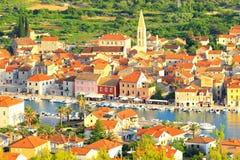 Hvareiland in Kroatië, Starigrad-stad, panorama Royalty-vrije Stock Foto