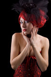 hövdad röd kvinna för korsett Royaltyfria Foton