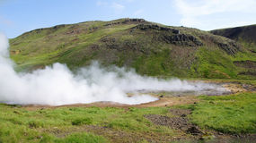 Hveragerdi reykjedalur steam on the ground. Hveragerdi Reykjadalur walk to the hot (varma) river, steam coming out the ground royalty free stock image