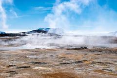 Hverarönd smoke. Smoking landscape at Hverarönd at namafjall near Myvatn in Iceland stock photos
