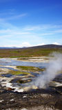 Hveravellir hot spring on the Kjolur. Panorama of the geothermal hot spring area of Hveravellir on the Kjolur route Royalty Free Stock Photos
