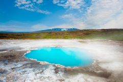 Hveravellir. Incredibly blue pool Blahver at Hveravellir is actually a hot geothermal spring in the heart of Iceland Stock Images