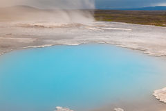 Hveravellir. Incredibly blue pool Blahver at Hveravellir is actually a hot geothermal spring in the heart of Iceland Royalty Free Stock Photo