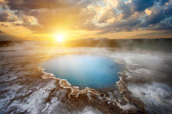 Hveravellir. Incredibly blue pool Blahver at Hveravellir is actually a hot geothermal spring in the heart of Iceland. Photo taken around midnight sunset Stock Photos