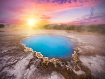 Hveravellir. Incredibly blue pool Blahver at Hveravellir is actually a hot geothermal spring in the heart of Iceland. Photo taken around midnight sunset Royalty Free Stock Photo