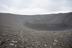 Hverfell caldera volcano top view, Iceland landmark stock image