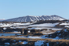 Hverfjall mount and lake volcano north of Iceland during winter Royalty Free Stock Image