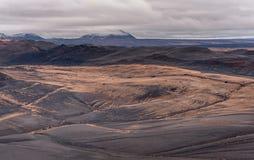 Hverfjall också som är bekant som Hverfell iceland Landskap royaltyfri foto