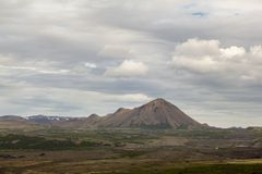 Hverfjall also known as Hverfell is a tephra cone or tuff ring volcano in northern Iceland, to the east of Mývatn. stock photo