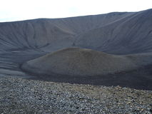 Hverfjall Volcano Crater on Iceland. Hverfjall (also known as Hverfell) is a tephra cone or tuff ring volcano in northern Iceland Royalty Free Stock Image