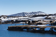 Hverfjall volcano mountain with small lake and clear blue sky background Stock Image