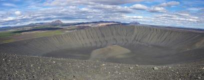 Hverfjall vulkanisk krater nära sjön Myvatn i Island, en av th Arkivfoto