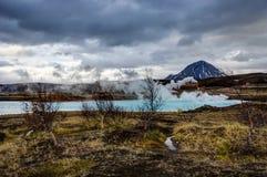 Hverir地热地区在Myvatn冰岛附近也叫Blue Lake 库存照片